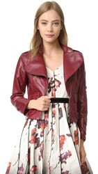 Marc Jacobs Lambskin Leather Jacket Burgundy