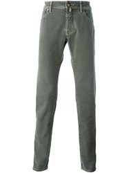 Jacob Cohen Herringbone Patterned Trousers Grey
