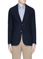 Boglioli 'Casati' Textured Wool Knit Soft Blazer Blue
