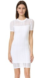 Alexander Wang Jersey Jacquard Fitted Dress White