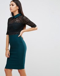 Vesper Pencil Dress With Lace Detail And Point Collar Green