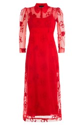 Simone Rocha Dress With Sheer Floral Overlay Red
