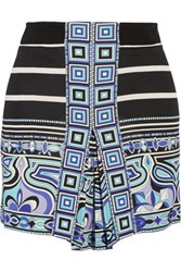 Emilio Pucci Printed Stretch Ponte Shorts Blue