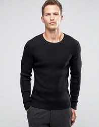 Selected Homme Ribbed Zip Through Crew Neck Black