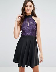 Jasmine Skater Dress With Lace Top Black Purple