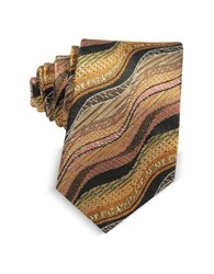 Missoni Waves Woven Twill Silk Men's Narrow Tie Orange