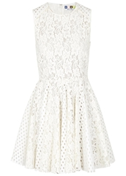 Msgm Off White Coated Lace Dress