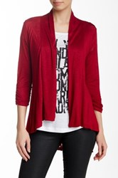 Hip Ray Slub Ruched Cardigan Red