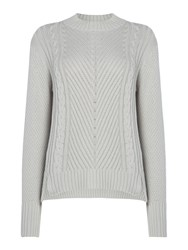 Therapy Lola High Neck Cable Stepped Hem Jumper Grey