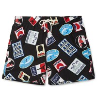 Maison Kitsune Mid Length Printed Swim Shorts Black