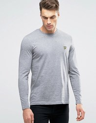 Lyle And Scott Long Sleeve Top Eagle Logo In Grey Marl Grey Marl