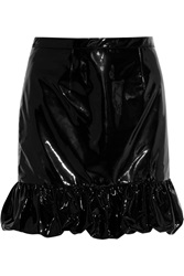 Christopher Kane Ruffled Patent Leather Mini Skirt Black