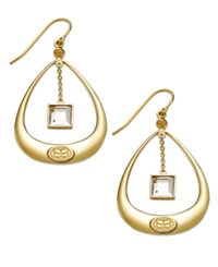 Sis By Simone I Smith 18K Gold Over Sterling Silver Earrings Dangling Crystal Tear Drop Earrings
