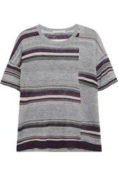 Autumn Cashmere Striped Cashmere T Shirt Gray