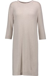 Brunello Cucinelli Sequin Embellished Cashmere And Silk Blend Dress Taupe