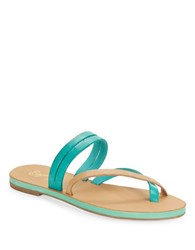Seychelles Starlet Leather Double Strap Thong Sandals Turquoise