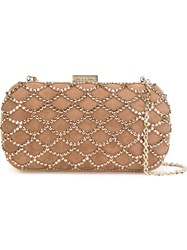 Sergio Rossi Embellished Clutch Nude And Neutrals