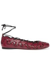 Alaia Cutout Leather Ballet Flats Red