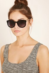 Forever 21 High Shine Round Sunglasses Black Gold