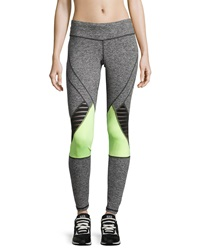 Pink Lotus Mesh Trim Colorblock Yoga Pants Gray Lime