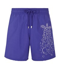 Vilebrequin Embroidered Bubble Turtle Mistral Swim Shorts Male Purple