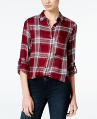 Polly And Esther Juniors' Plaid Roll Sleeve Shirt Red Grey