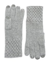 Lord And Taylor Knit Cuff Cashmere Gloves Grey