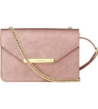 Lk Bennett Karla Metallic Leather Shoulder Bag Pin Metallic Pink