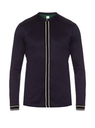 Paul Smith Contrast Piping Cotton Henley Top Navy
