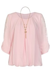 Quiz Pink Chiffon Lace Bow Necklace Top