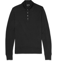 Tom Ford Merino Wool Polo Shirt Black