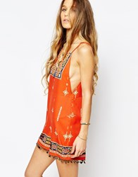 Kiss The Sky A Stitch In Time Placement Print Playsuit With Low Back And Coin Trim Multi