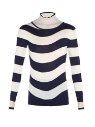Fendi Sheer Roll Neck Striped Sweater Blue Stripe
