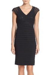 Women's Adrianna Papell Shutter Pleat Jersey Sheath Dress Black