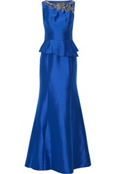 Theia Embellished Satin Peplum Gown Blue