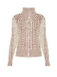 Isabel Marant Easley High Neck Zip Through Sweater Ivory Multi