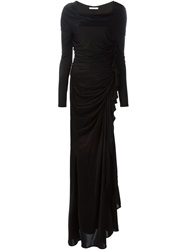 Givenchy Gathered Cascading Gown Black
