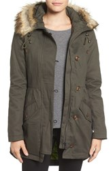 Sam Edelman Women's Twill Pleat Skirt Parka With Faux Fur Trim Hood Olive