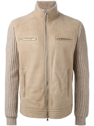 Brunello Cucinelli Ribbed Knit Sleeve Jacket Nude And Neutrals