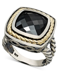 Macy's 14K Gold And Sterling Silver Ring Onyx Square Ring 6 3 4 Ct. T.W.