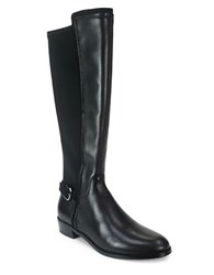 Tahari Renee Leather And Neoprene Knee High Buckle Boots Black