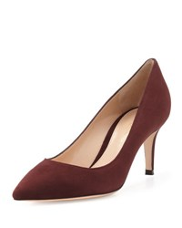 Gianvito Rossi Suede Point Toe 70Mm Pump Burgundy