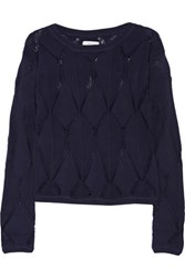 Milly Pointelle Knit Cotton Blend Sweater Midnight Blue