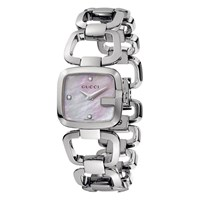 Gucci Women's Mother Of Pearl Square Diamond Dial Bracelet Strap Watch Silver Pink
