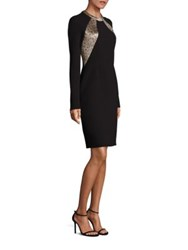 Carmen Marc Valvo Dual Tone Crepe Long Sleeve Dress Black Gold