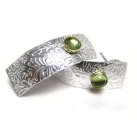 Catherine Marche Jedeco Sterling Silver Long Studs With Peridot Volutes Earrings