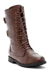 West Blvd Shoes Cairo Faux Leather Lace Up Military Boot Brown