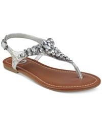 G By Guess Londean Embellished Flat Sandals Women's Shoes Silver