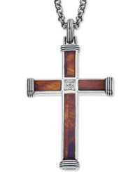 Esquire Men's Jewelry Red Tiger's Eye 22 7 8 X 3 3 4Mm And 9 1 2 X 3 3 4Mm And Diamond Accent Cross Pendant Necklace In Sterling Silver First At Macy's