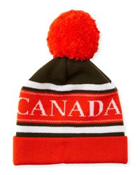 Canada Goose Men's Merino Wool Logo Pom Pom Cap Green Orange Green Orange